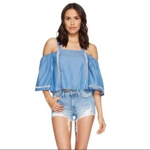 NWT Lovers + Friends Riptide Chambray Crop Top